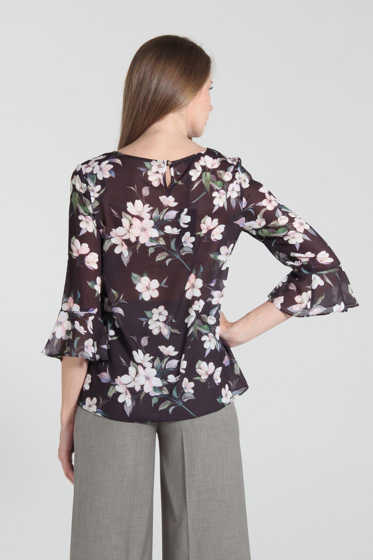 Bluz Ekol Ekol Cicek Desenli Volanli Kol Bluz Bluz Siyah Satin