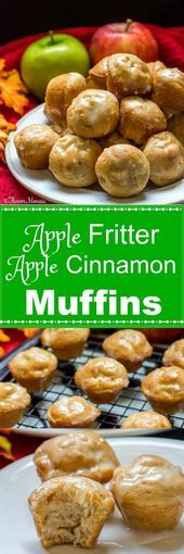 Photo of These sweet Apple Fritter Apple Cinnamon Muffins are made with fresh apples, in …