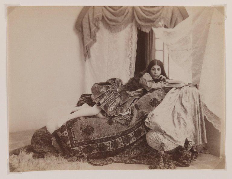 badesaba:    Qajar Era Reclining Lady Reading a Book  Antoin Sevruguin