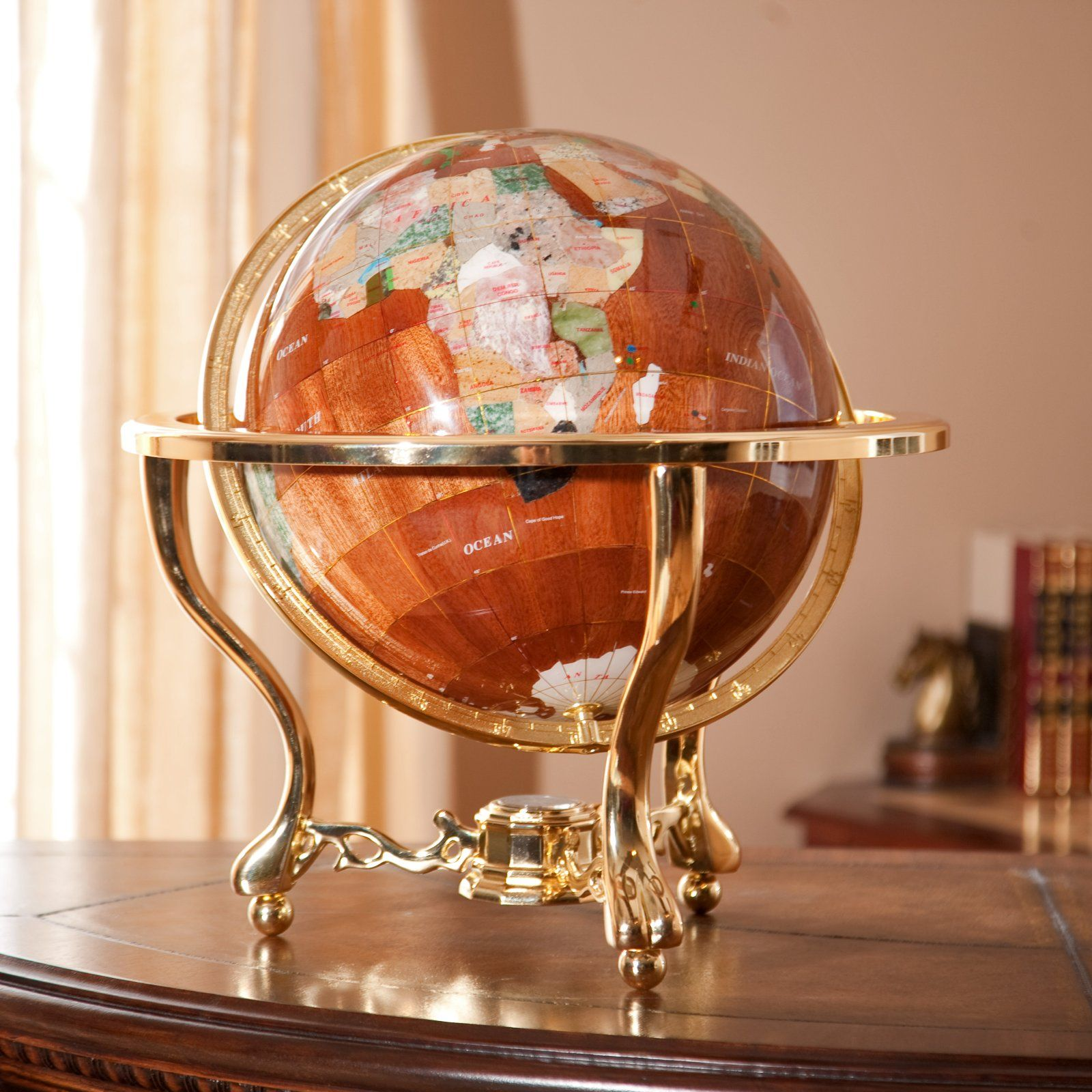 Wood gemstone 13 inch table top globe gemstone globes at world wood gemstone 13 inch table top globe gemstone globes at world globes gumiabroncs