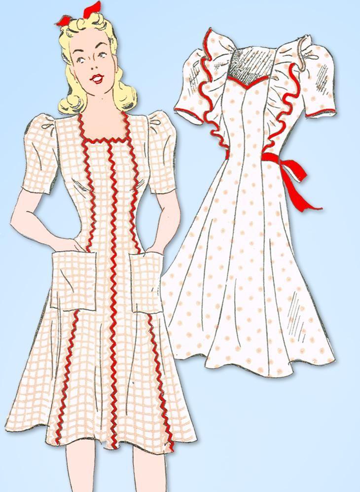 1940s Vintage New York Sewing Pattern 1461 WWII Misses Princess ...