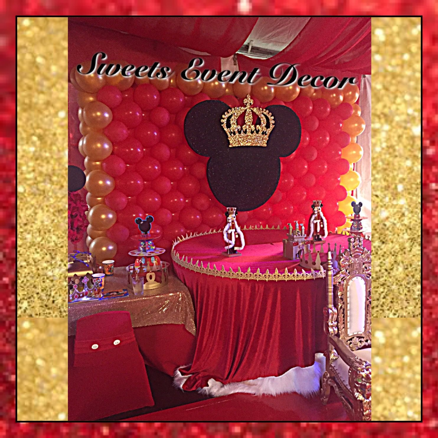 royal prince mickey mouse decor by: sweets event decor|floral
