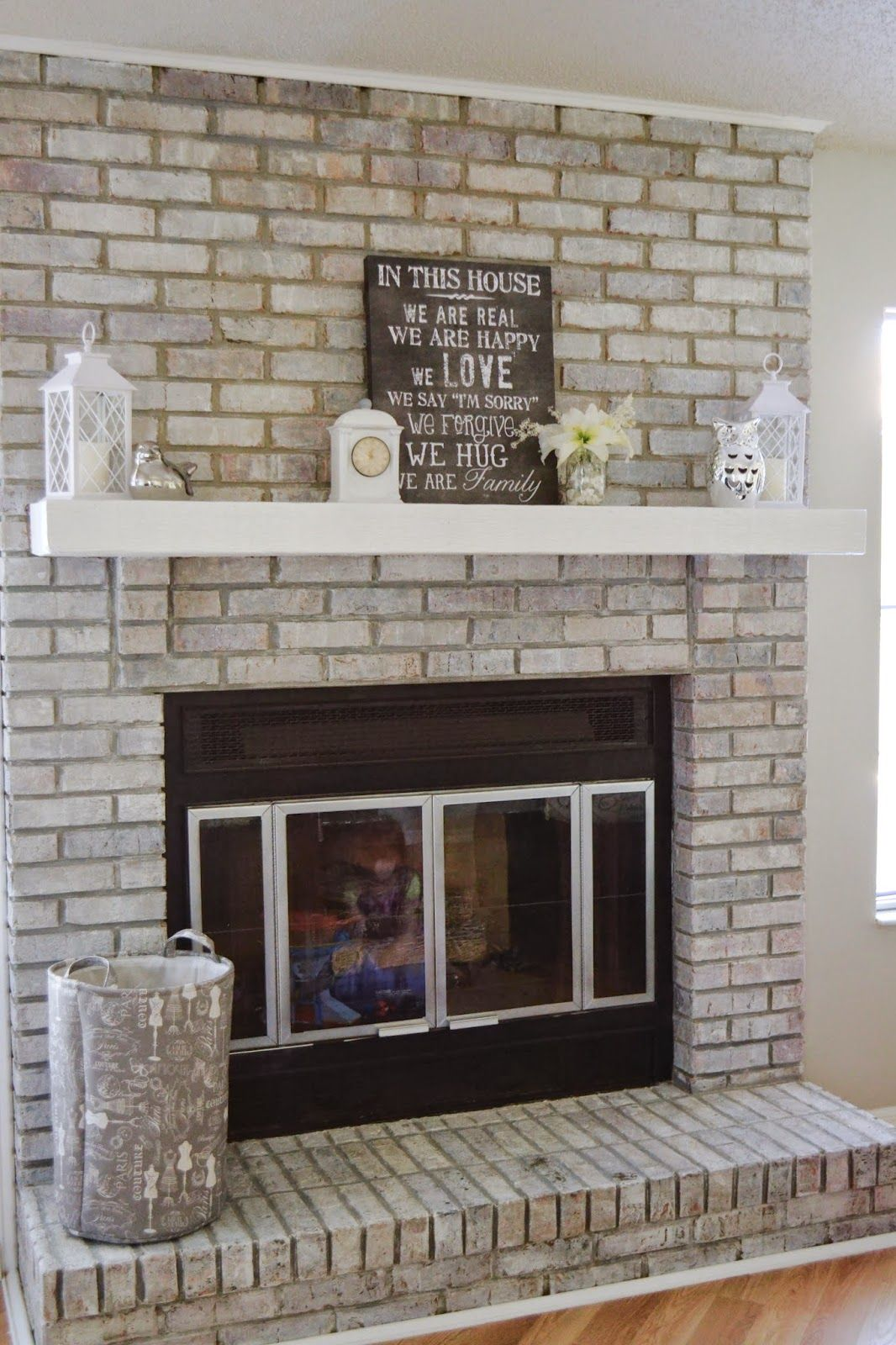 It S A Mom S World How To White Wash Your Fireplace In 3