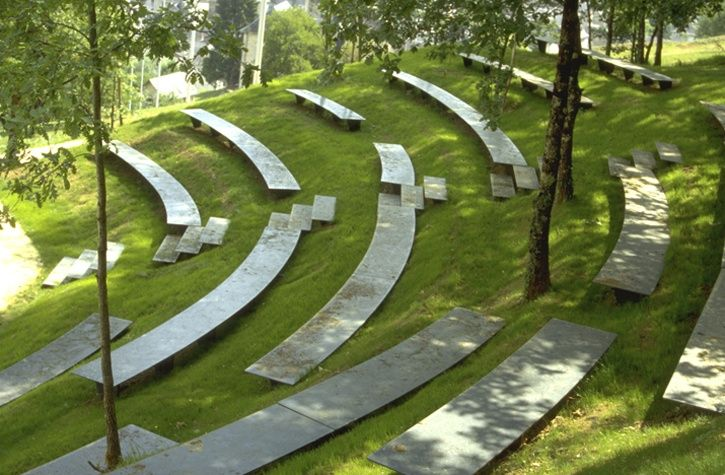 Grass Amphitheater With Unexact Arc Shaped Seating