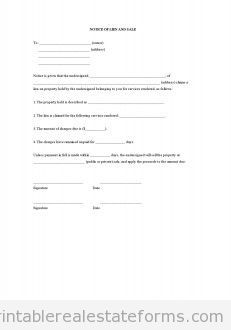 photo about Printable Lien Form known as Free of charge Awareness of Lien and Sale Printable Genuine Estate Styles