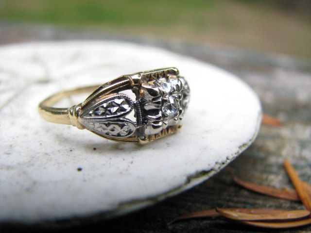 Adorable 1930s 14K Gold Old Mine Cut Diamond Engagement Ring with Heart Details - Stylish Old Box. $265.00, via Etsy.