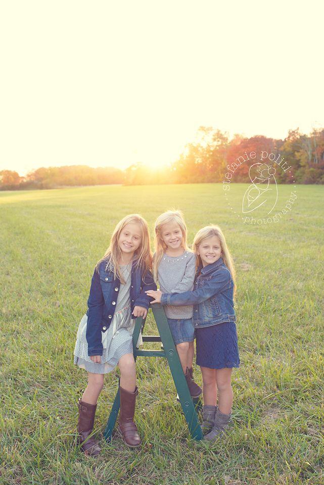 www.stefaniepolitiphotography.com, child photography, child photographer, NJ child photographer, Hunterdon County child photographer, girl, portrait, girls, siblings, family, backlit, sunset, haze, hazy, field, autumn, fall