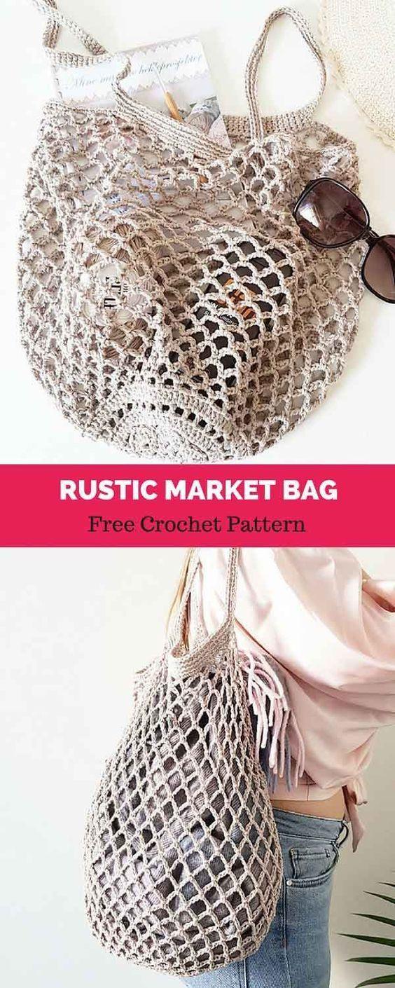 Rustic Market Bag [ FREE CROCHET PATTERN   carteras muy delicadas ...