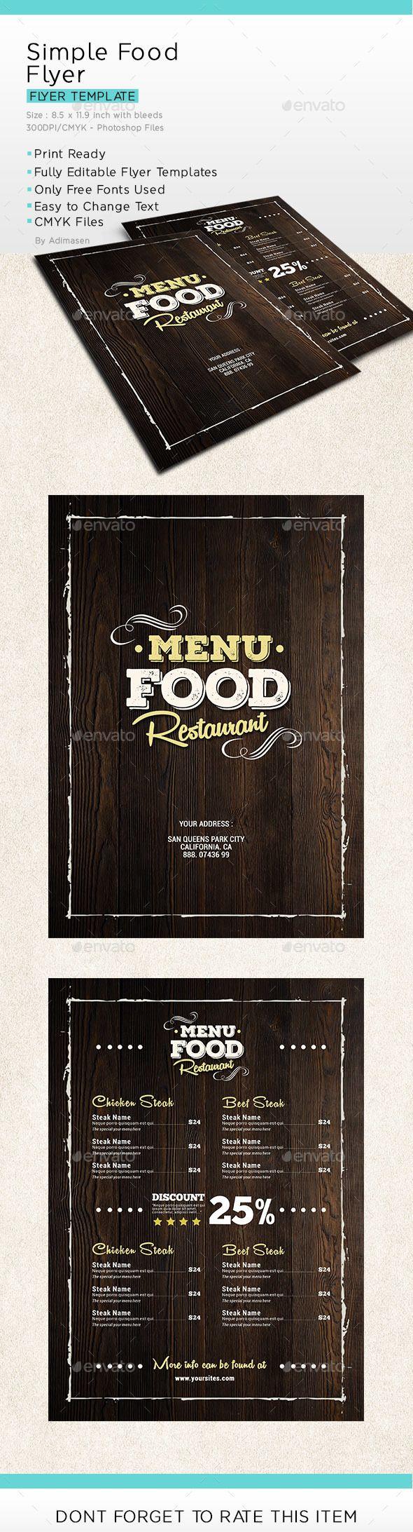 Menus Templates Free Simple Food Menu Flyer  Food Menu Menu Templates And Food Menu .