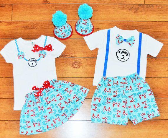 Thing 1 Thing 2 boy girl twins shirts Dr Seuss Twins cake smash
