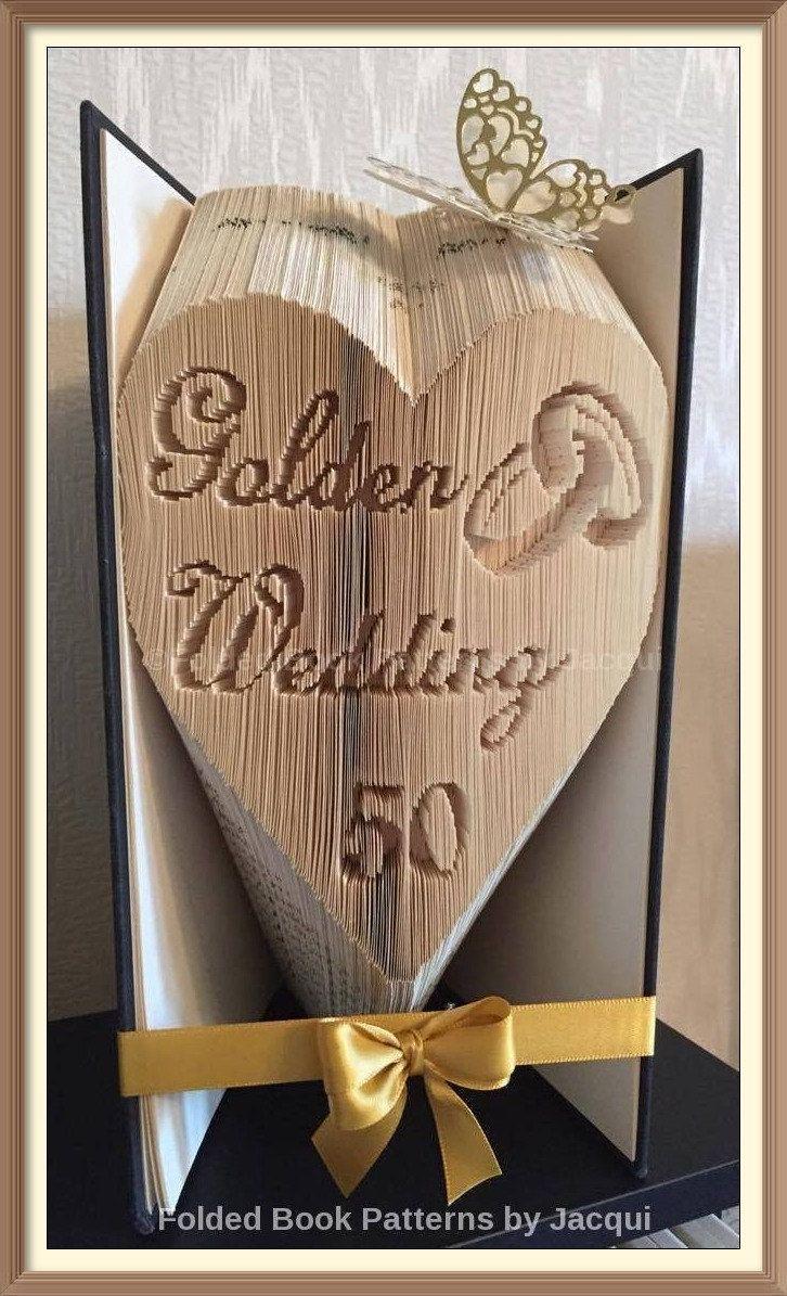 Golden Wedding Heart. Book Folding PATTERN by JHBookFoldPatterns on Etsy
