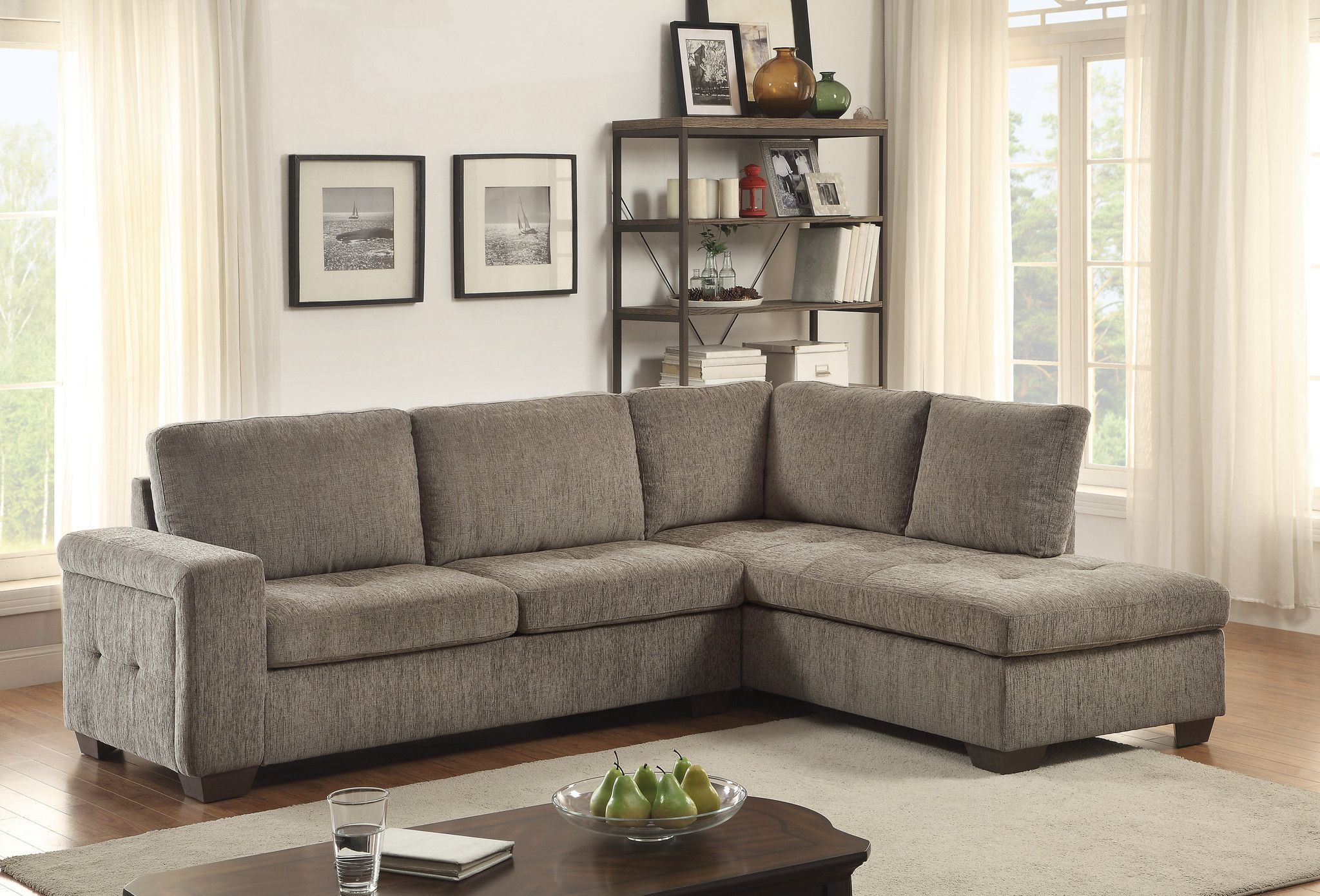 Home elegance calby lane collection pcs sectional sofa with full
