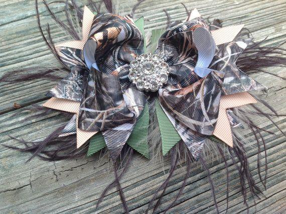 camo hair bow with rhinestone center