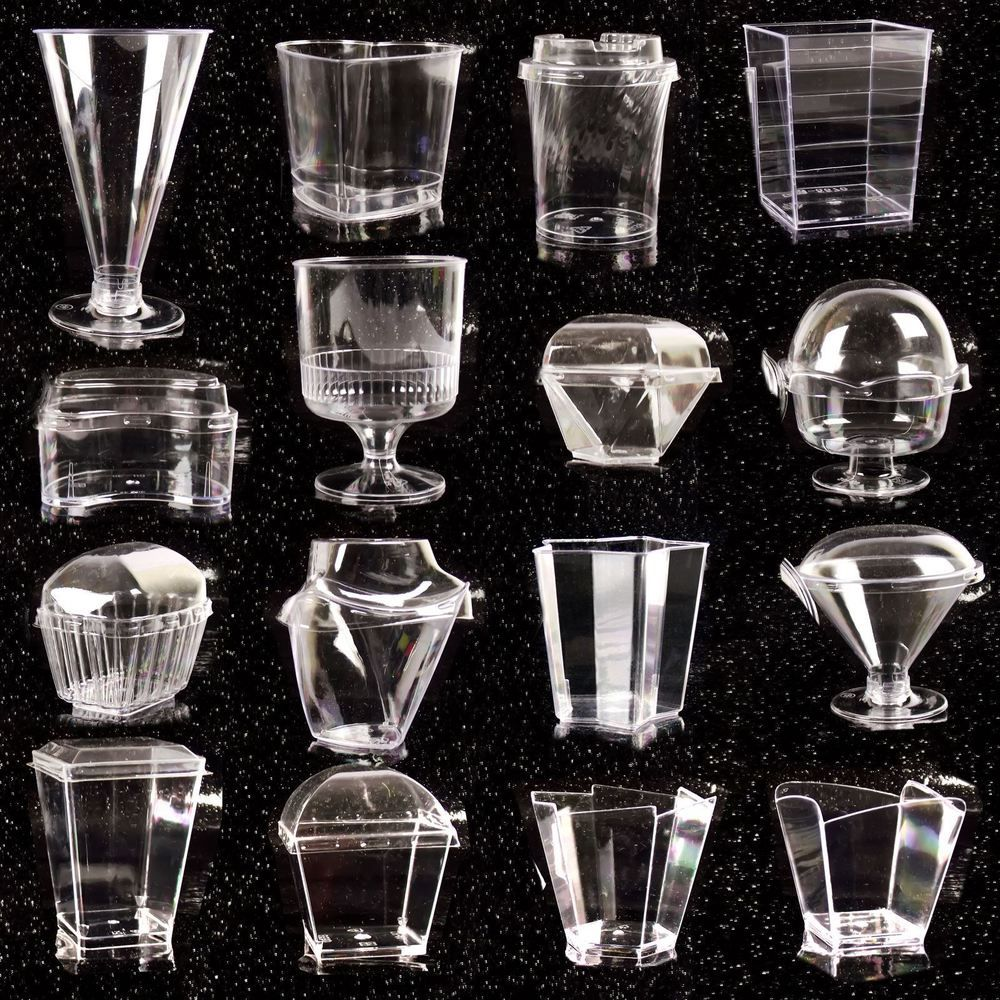 Disposable canape dishes dessert cups clear plastic lids
