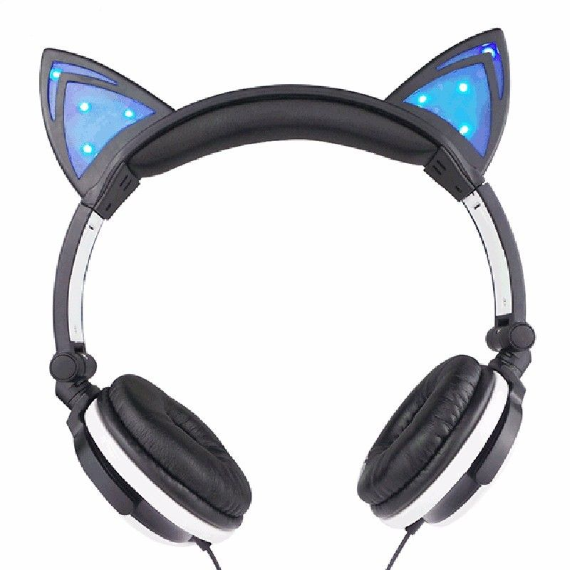 4a49915dc2c Hot Sale Cute Girl Gaming Headset Foldable Flashing Glowing Cat Ear  Headphones With LED Light For PC Computer Phone Headband