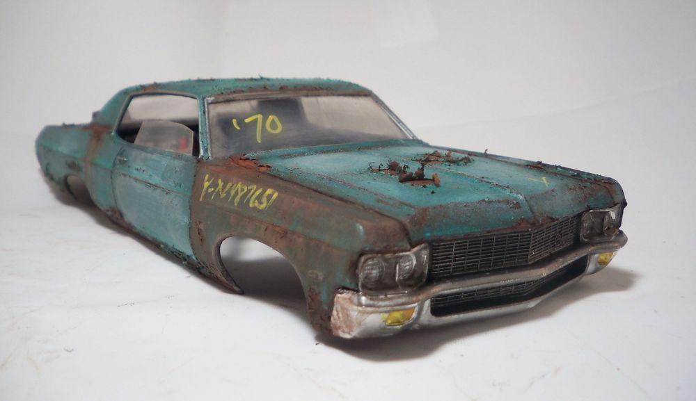 1970 Chevy Impala Drag Slot Car Hard Body 1 25 Amt Custom Weathered Barn Find Amt Chevy Impala 1970 Chevy Impala Hard Body