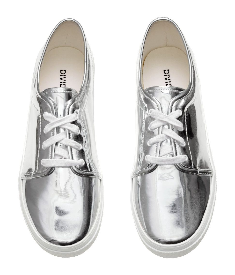 ff54bc322 Sneakers in imitation leather with a silver-colored metallic finish. Laces,  fabric lining and insoles, and rubber soles. | H&M Shoes