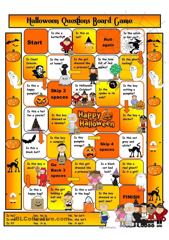 Halloween Boardgame For Beginners Teaching English