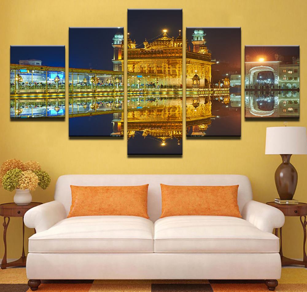 5 Pcs Framed Golden Temple Mirror Image Canvas For Your Home/Office ...