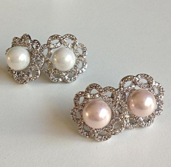 Bridal Pearl  Wedding Jewelry Swarovski by AsiancosmosJewellery