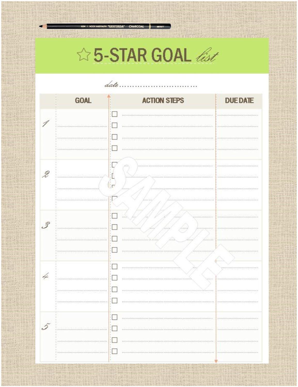 Life S Lists Printable 5 Star Goal List