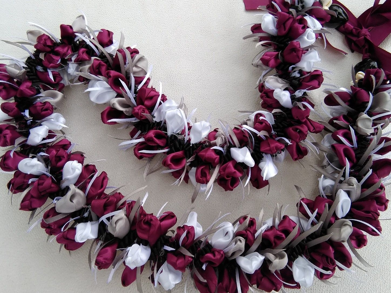 Hawaiian Lei Party Luau Floral Leilani Carnation Silk Dance Flower White Green D