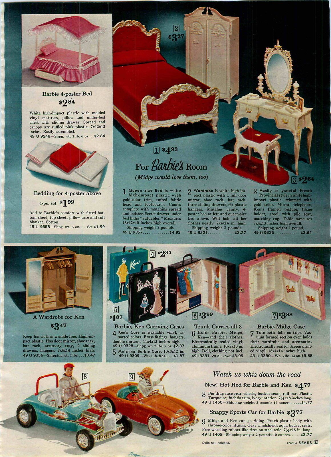 1964 Ad 3 Pg Barbie Ken Accessories Car Bedroom House