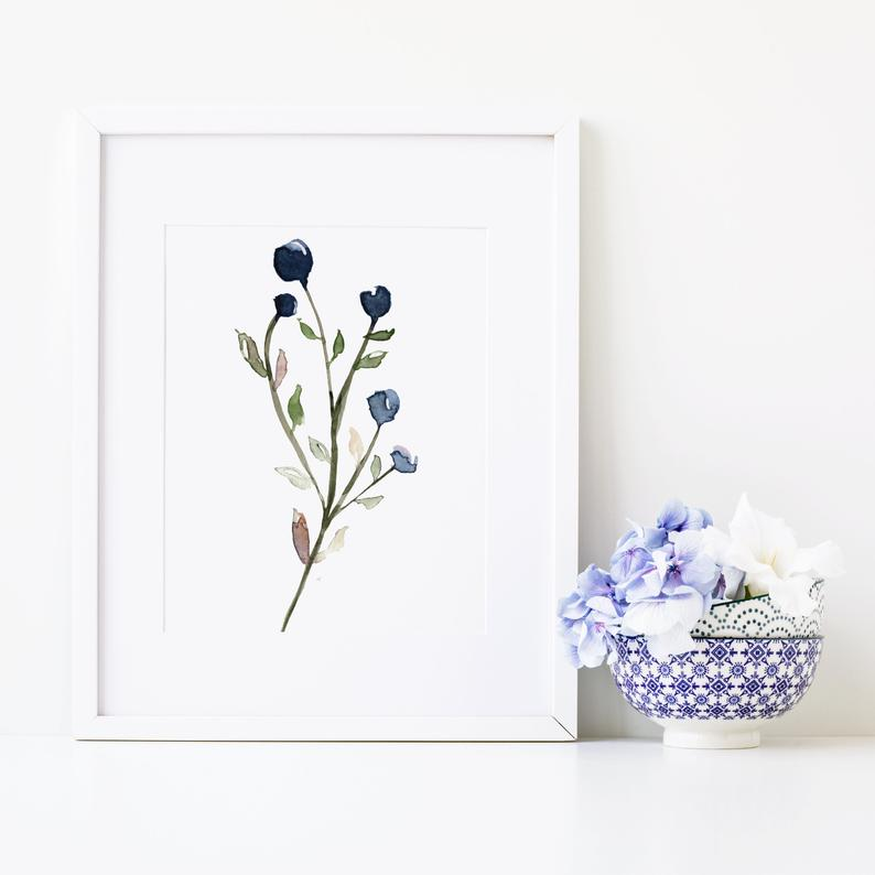 indigo botanical watercolor print hygge wall decor etsy on hygge wall decor id=72420