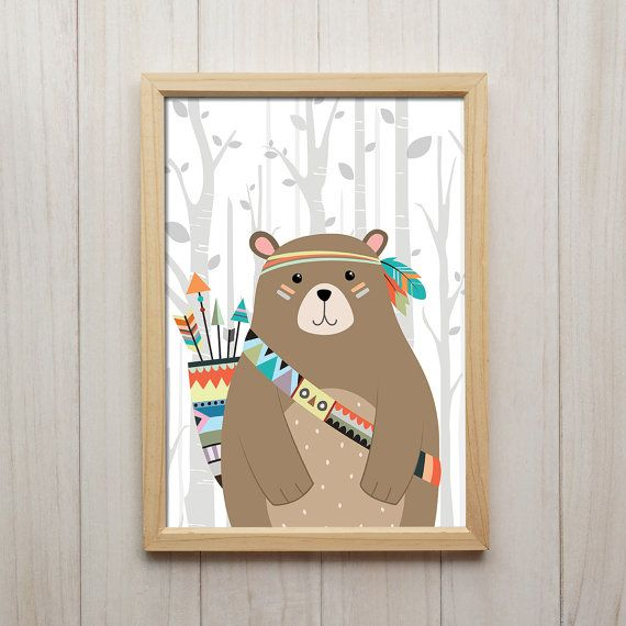 Tribal Indian Bear A4 Size Print Wall print nursery print