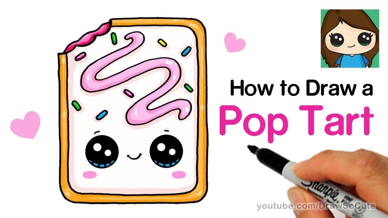 Follow Along To Learn How To Draw This Cute Pop Tart Easy Step By Step Yummy Kawaii Pop Ta Cute Food Drawings Drawing Lessons For Kids Easy Drawings For Kids