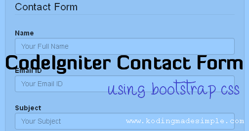 Codeigniter Contact Form Tutorial With Mail Sending Option  Php
