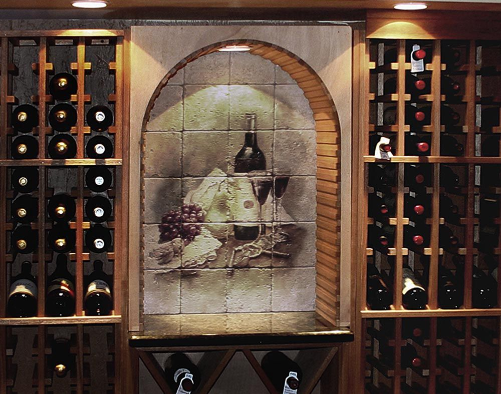 Wine Cellar Design Ideas | Pictures Of Wine Cellar Tile Murals With  Landscapes, Still Life