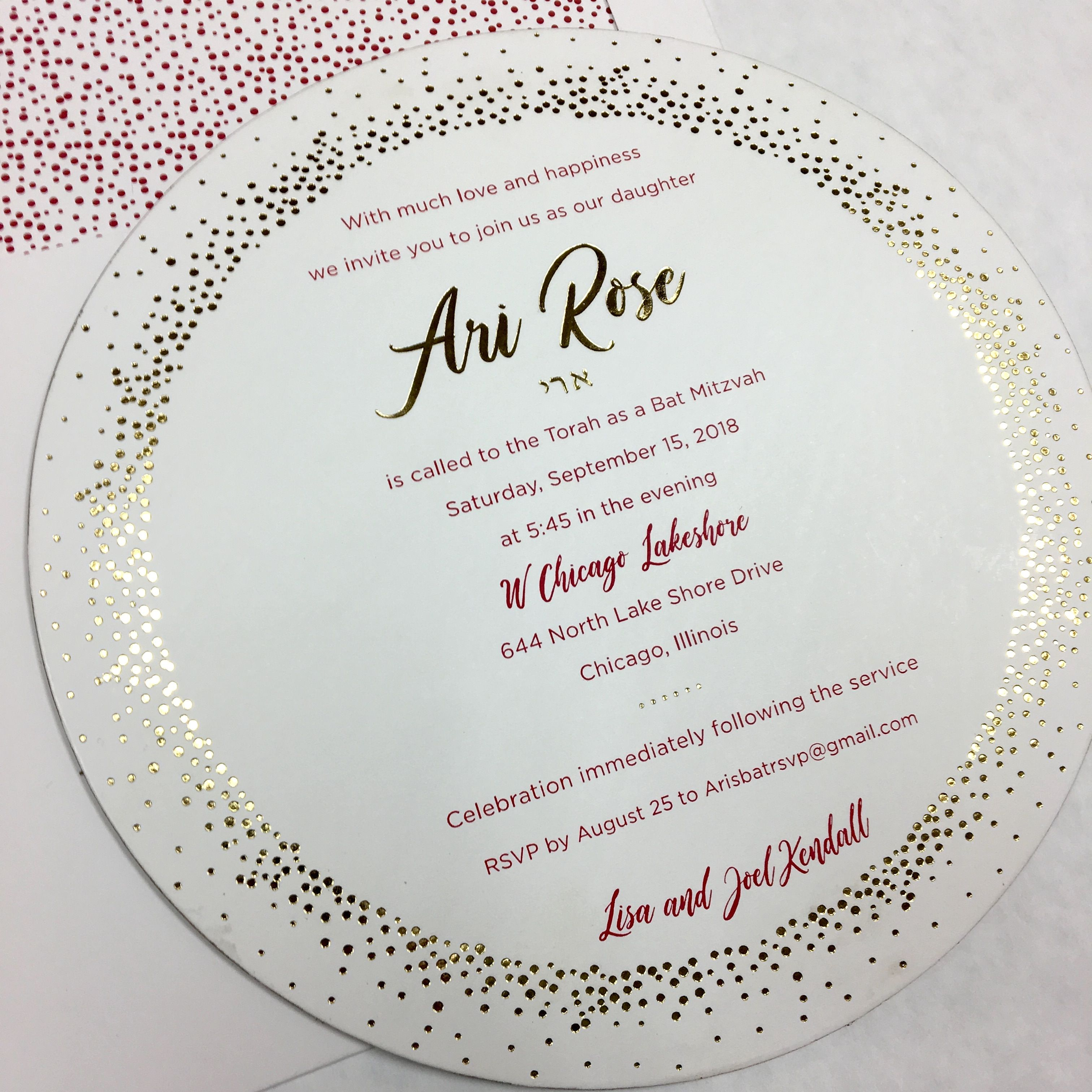 e7c9a52a9 This 6 ply circle invitation was edge painted in gold and backed with a glossy  gold