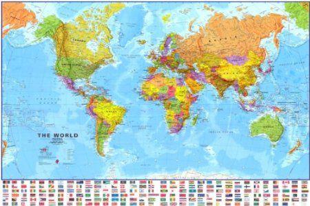 Amazon 48x70 giant world megamap laminated wall map with flags amazon 48x70 giant world megamap laminated wall map with flags home kitchen gumiabroncs Choice Image