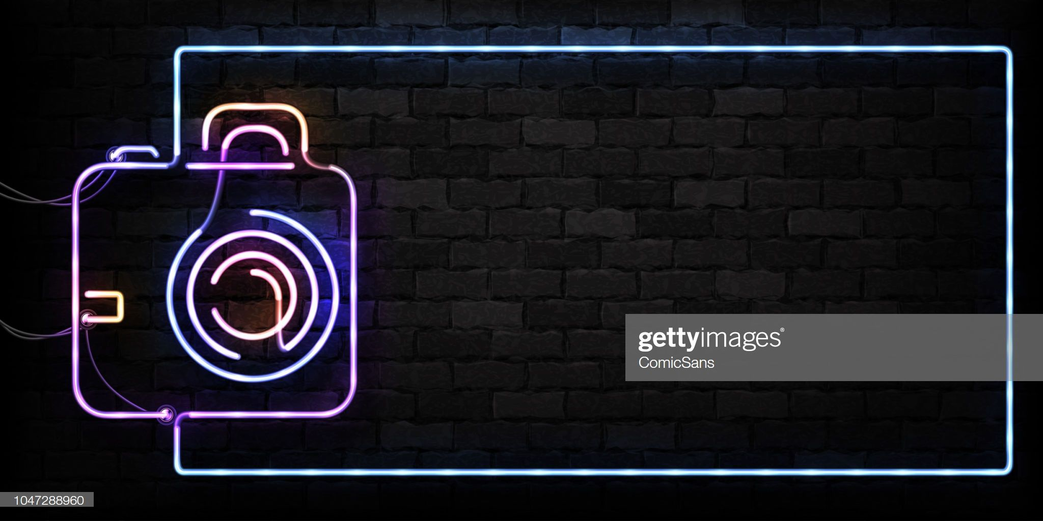 Vector realistic isolated neon sign of Camera frame logo