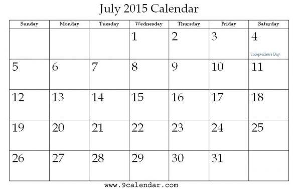 July 2015 Calendar Printable Printable Calendar Pinterest 2015