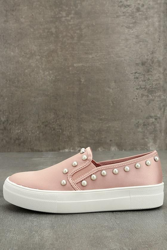 46a3f903557  Lulus -  Lulus Steve Madden Glacier Blush Satin Slip-On Sneakers - AdoreWe