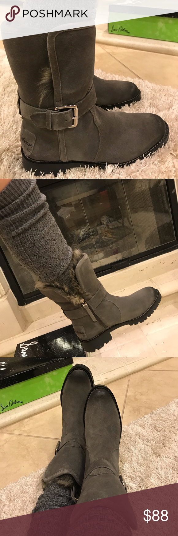 2f57ff93e Sam Edelman Jeanie Grey Suede Boot with fur Fur lined and super comfortable  on the inside