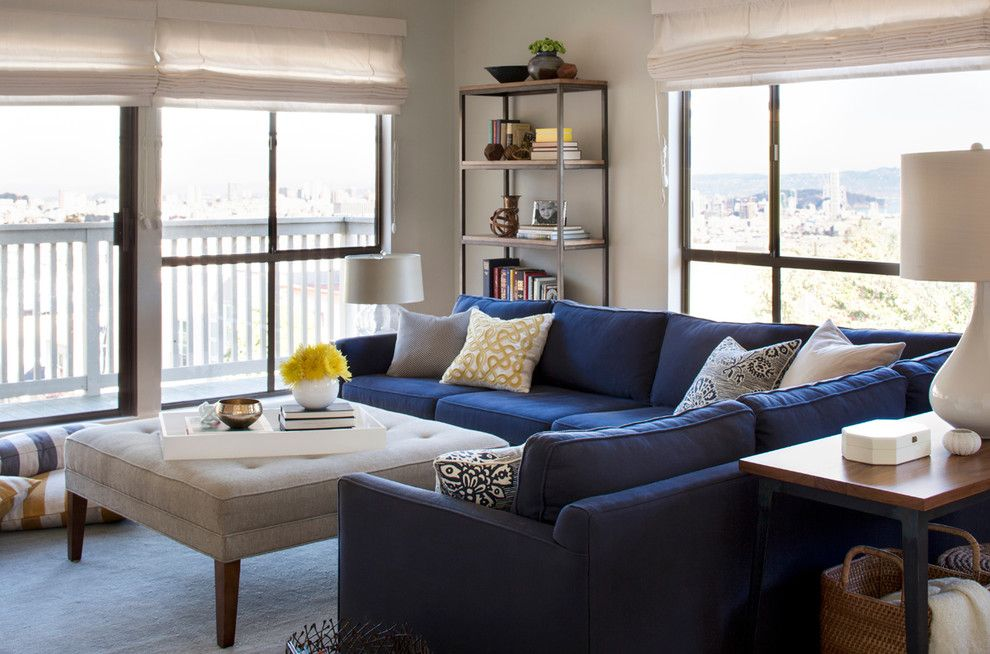 Glorious Contemporary Blue Velvet Sectional Sofa Decorating Ideas