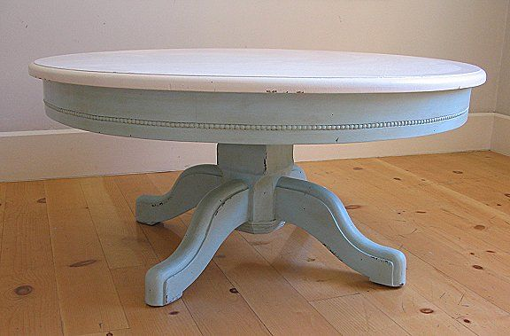 Blue Painted Pedestal Coffee Table Beaded Pedestal Coffee Table