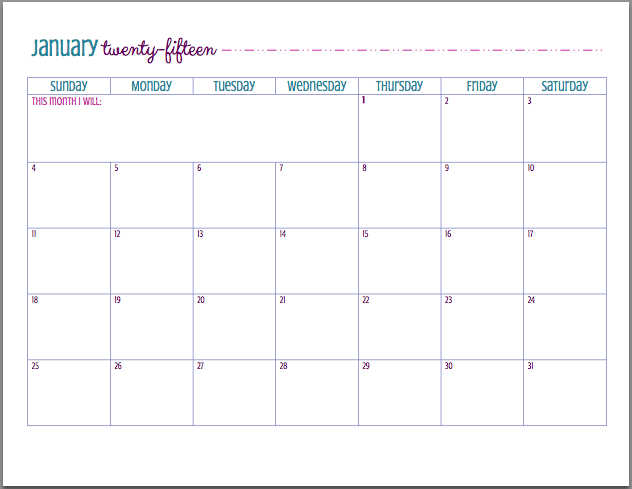 FREE Printable 2015 Calendar | Free printable, Binder and Blog