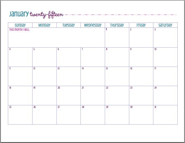 Free Printable 2015 Calendar Free Printable Binder And Blog