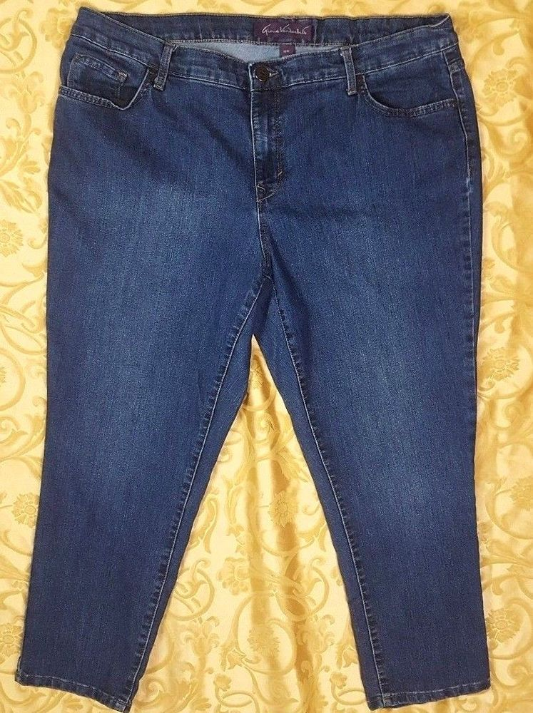015e1080 Gloria Vanderbilt Womens Plus Size Bridget Slim Leg Stretch Jeans Size 16W  #GloriaVanderbilt