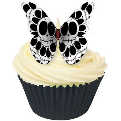 Black and #white skull butterflies edible cupcake #wafer