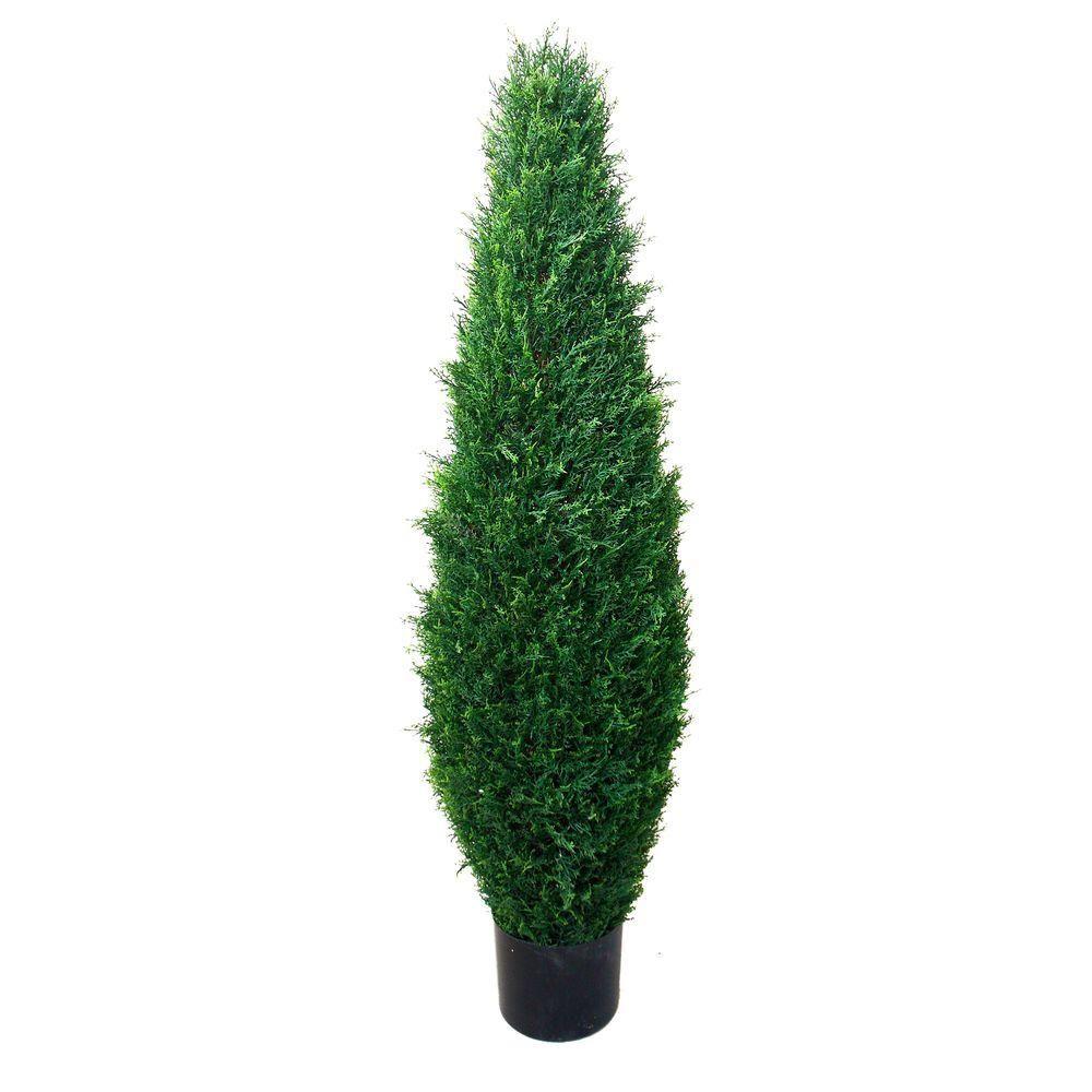 42 Artificial Outdoor Cypress Cedar Cone UV Topiary Bush Tree 3' 6 Porch Pool Home & Garden Home Décor