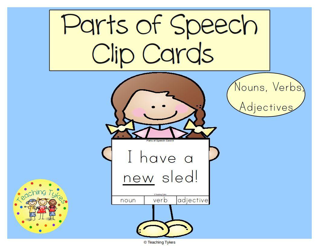 Parts Of Speech Task Cards Nouns Verbs Adjectives