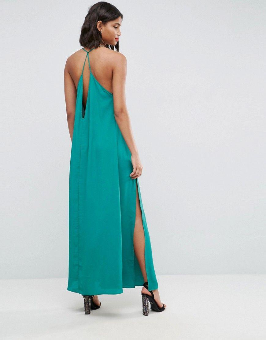 Deep Plunge V Back Strappy Maxi Dress - Green Asos Unisex 2yxNmeS