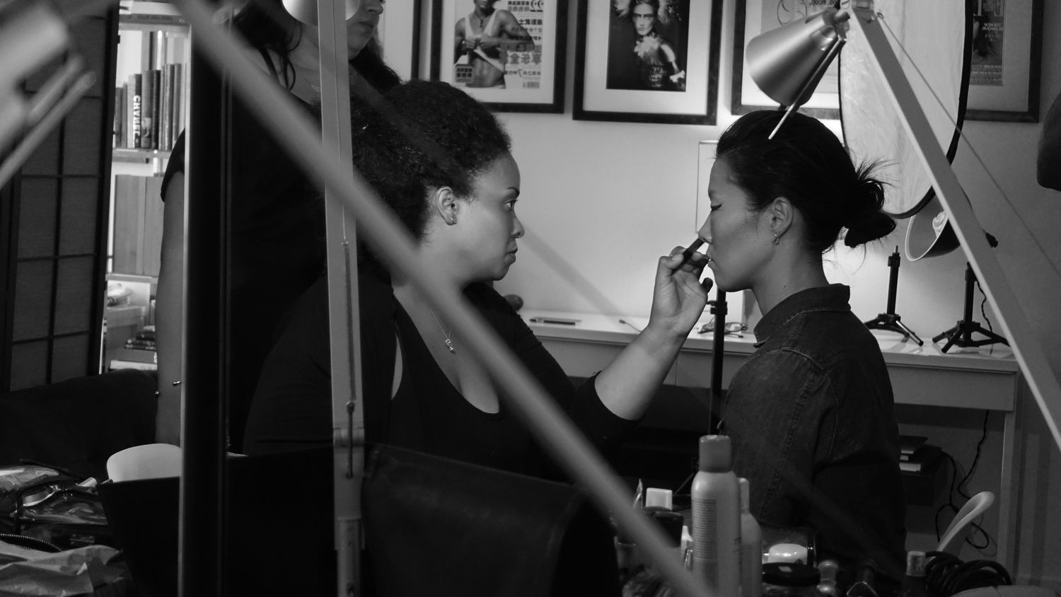 Uncategorized Simona Suh makeup artist griselle rosario and model riji suh on the set of starchild august 28
