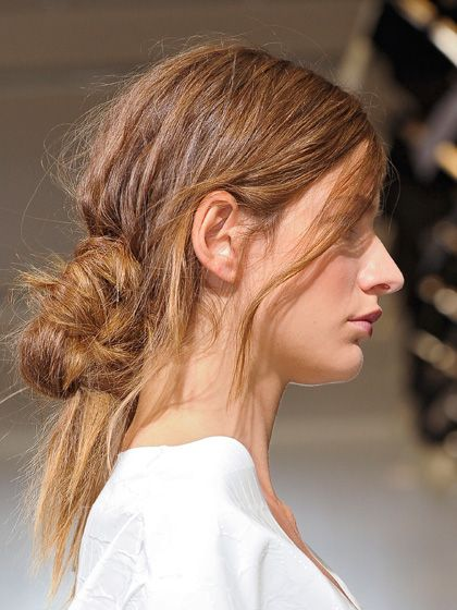 low, messy updo hairstyle - Marni
