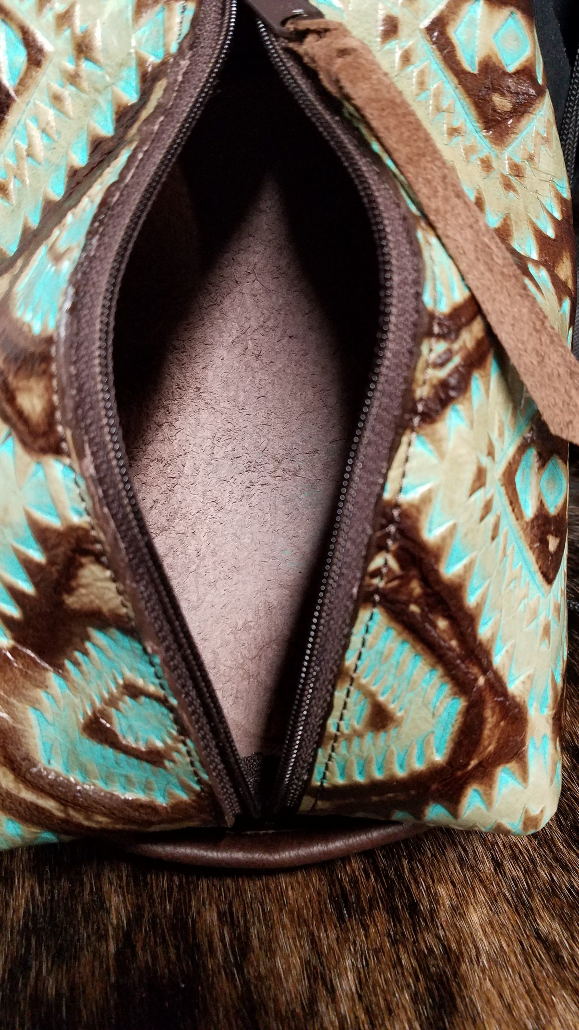 Large Cosmetic Bag, Aztec Turquoise and Brown Large